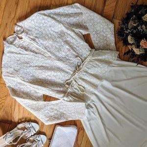 {Vintage} Boho lace 70s dress